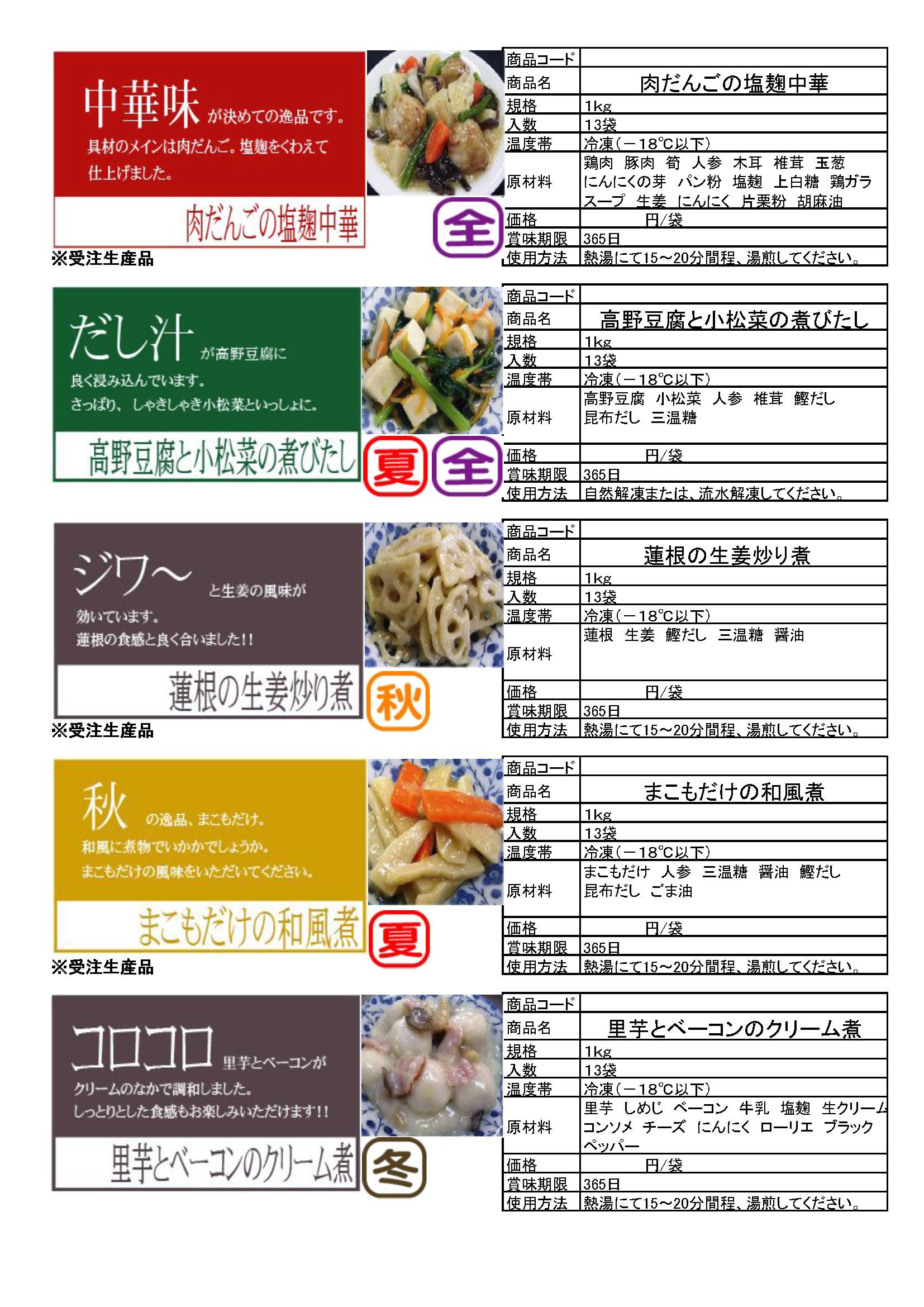 12.肉だんごの塩麹中華・高野豆腐と小松菜の煮びたし・蓮根の生姜炒り煮・まこもだけの和風煮・里芋とベーコンのクリーム煮