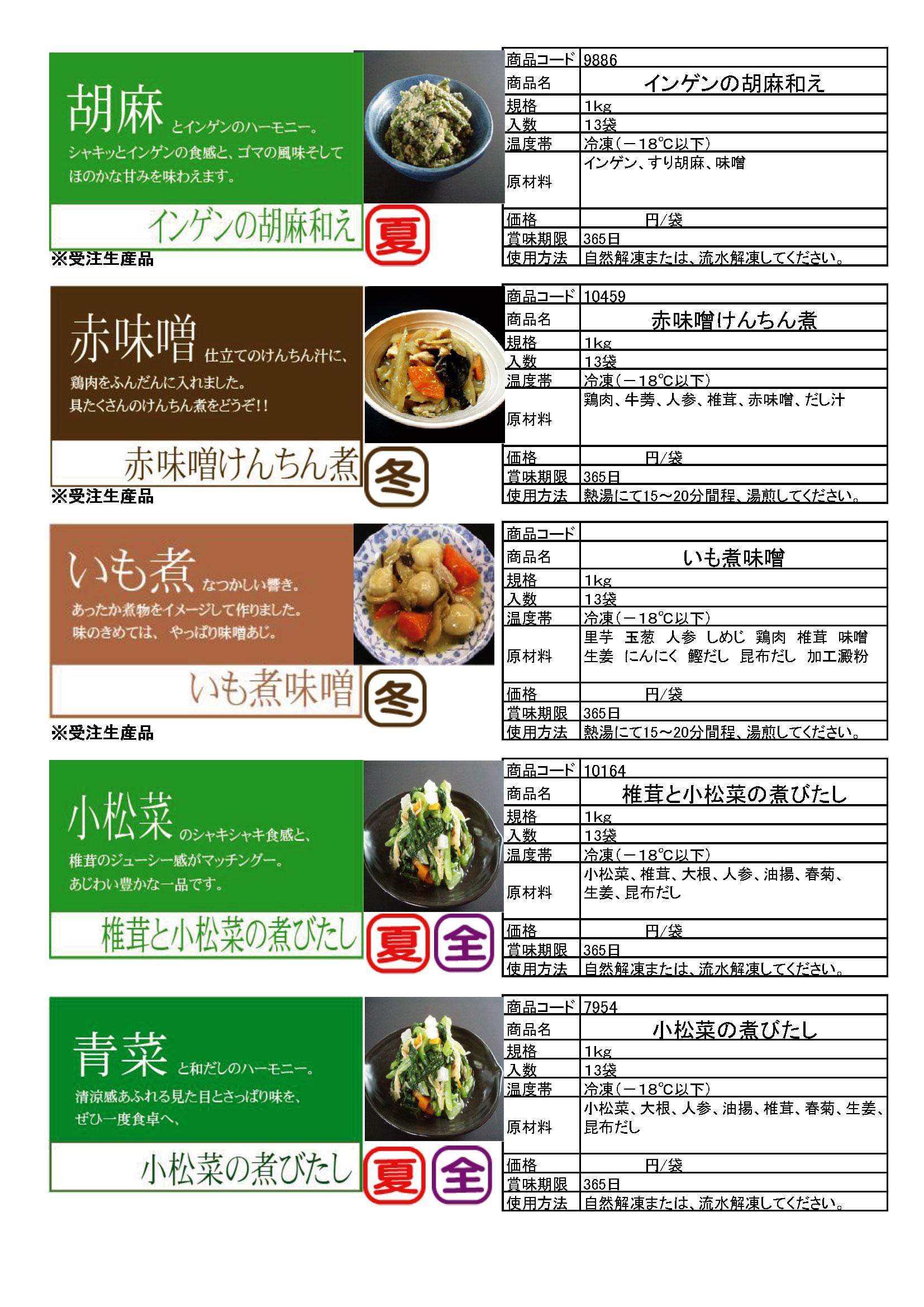 3. インゲンの胡麻和え・赤味噌けんちん煮・いも煮味噌・椎茸と小松菜の煮びたし・小松菜の煮びたし